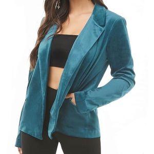 F21 | Teal Velvet Open-Front Blazer Career Jacket